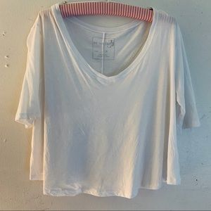 We The Free White Cropped Thin Soft T-Shirt SZ Med